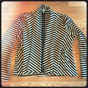 Drape open front striped jacket
